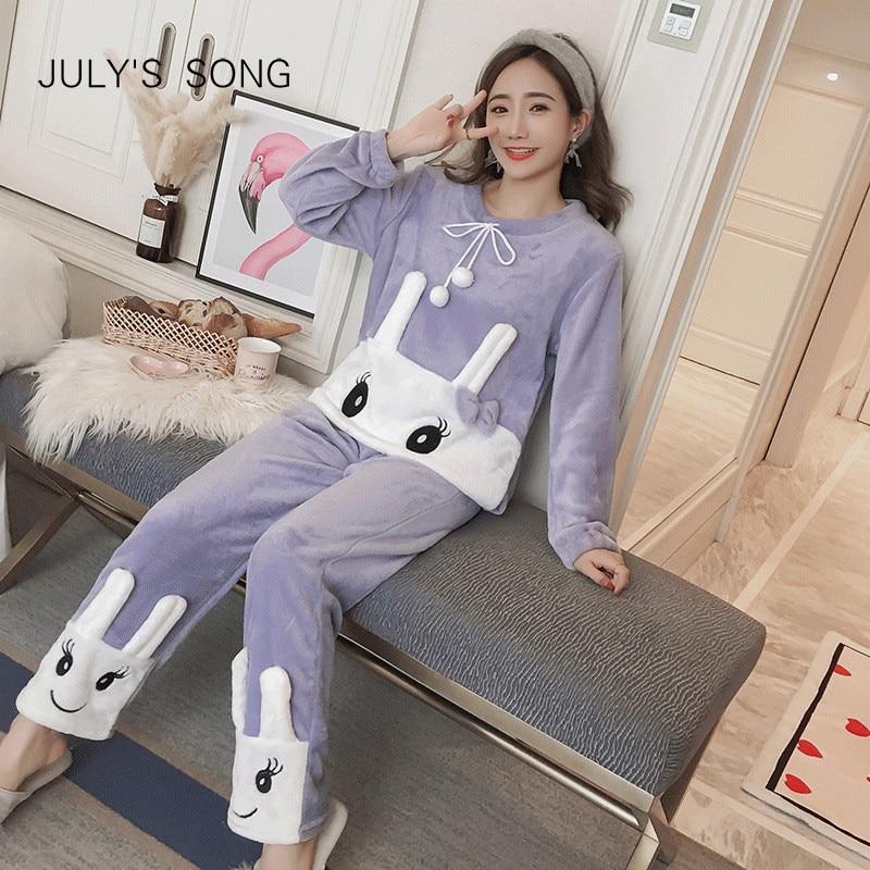 JULY'S SONG Flannel Women Pajamas Set Autumn & Winter Pink Cute Rabbit Cartoon Thick Warm Sleepwear Animal Homewear For Ladies