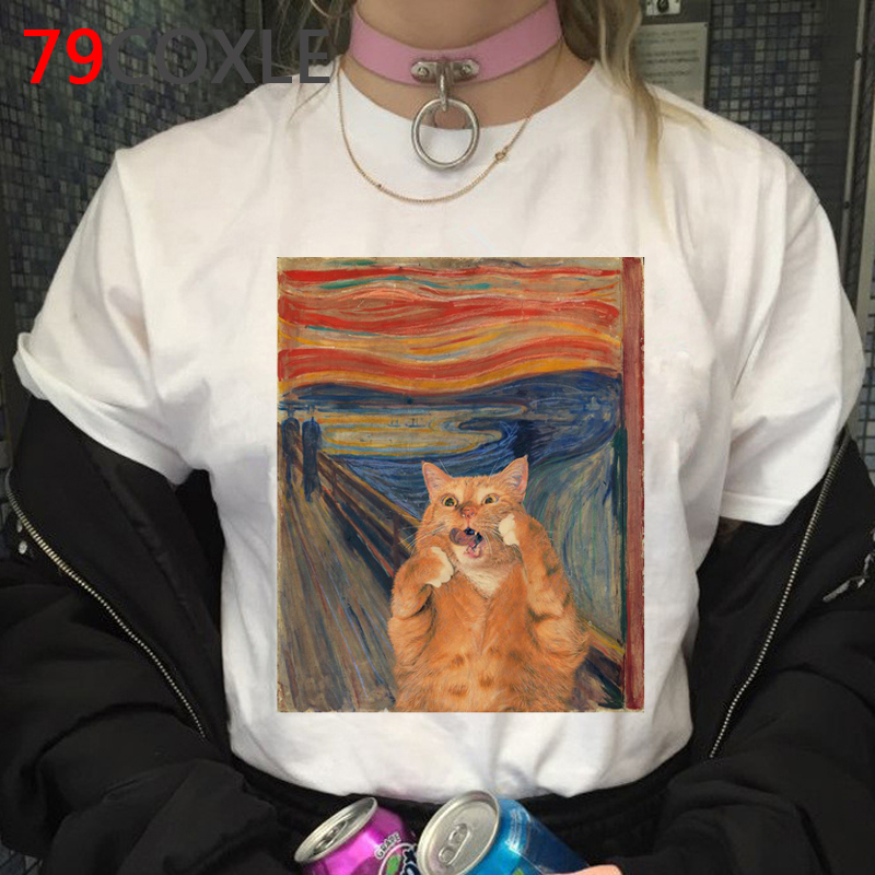 Cat Graphic Funny Cartoon T Shirt Women/men Harajuku 90s Grunge T-shirt Aesthetic Fashion Tshirt Kawaii Top Tees Female/male