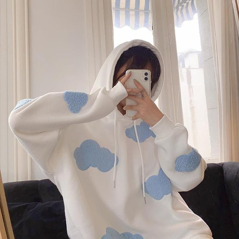 Female Casual Hoodies Sweatshirt Women Winter 2020 Fashion Clouds Pullover Women Plus Velvet Warm Long Sleeve Tops Kawaii Korean