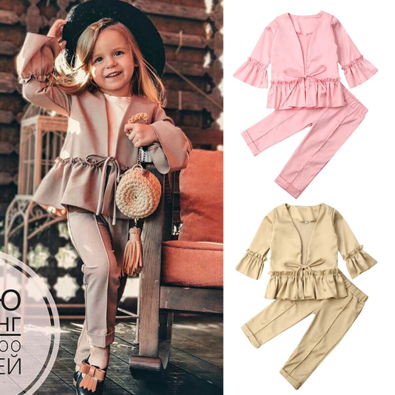 2019 Fashion New Kids Baby Girl Flare Sleeve Jacket Tops Long Pant Trouser 2PCS Outfits Autumn Clothes Set