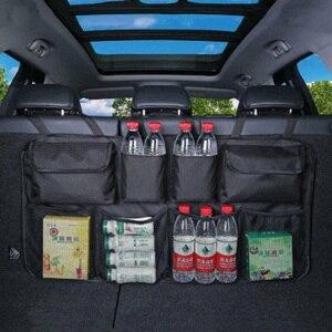 Image 3 - Saco de armazenamento de carro organizador mala do carro universal grande capacidade banco traseiro saco de armazenamento tronco carga malha titular bolso