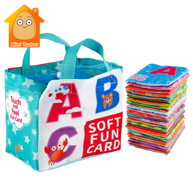 Mais novo flashcards aprendizagem língua bebê livro brinquedo 26 pçs macio alfabeto cartões com saco de pano bebês inglês livros de leitura