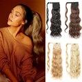 Длинный 24 ''голливудский волнистый конский хвост, синтетическое удлинение, зажим для тела, заколка для волос, светлый волнистый конский для ...