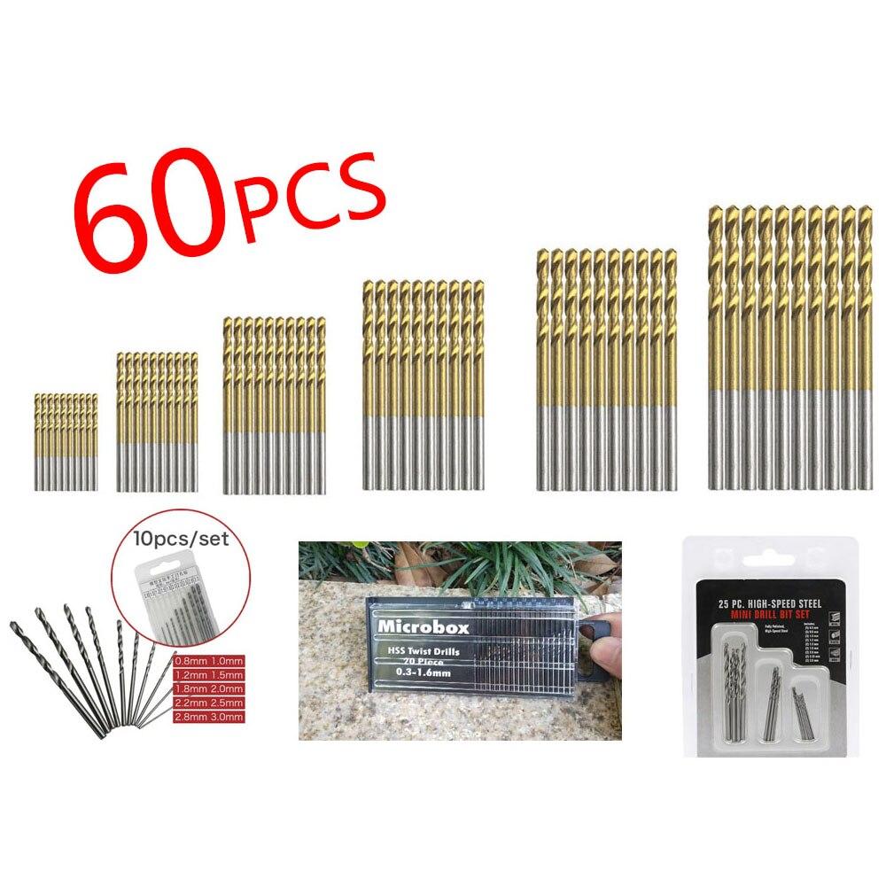 Twist Drill Bit Sets Titanium Coated HSS High Speed Steel Drill Bits Tools Power Tools For Wood Drill 1/1.5/2/2.5/3/3.5 Mm