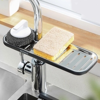 Soporte de esponja ajustable para fregadero, estante depósito de jabón, escurridor de tela para baño, accesorios de cocina, Organizador