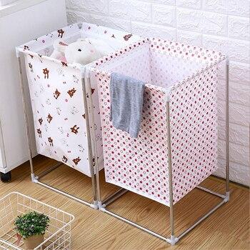 Cesta no tejida colada, marco de hierro forjado, cesta impermeable montada, cesto de almacenamiento de ropa sucia para el hogar, Cubo de almacenamiento de jamón multiusos