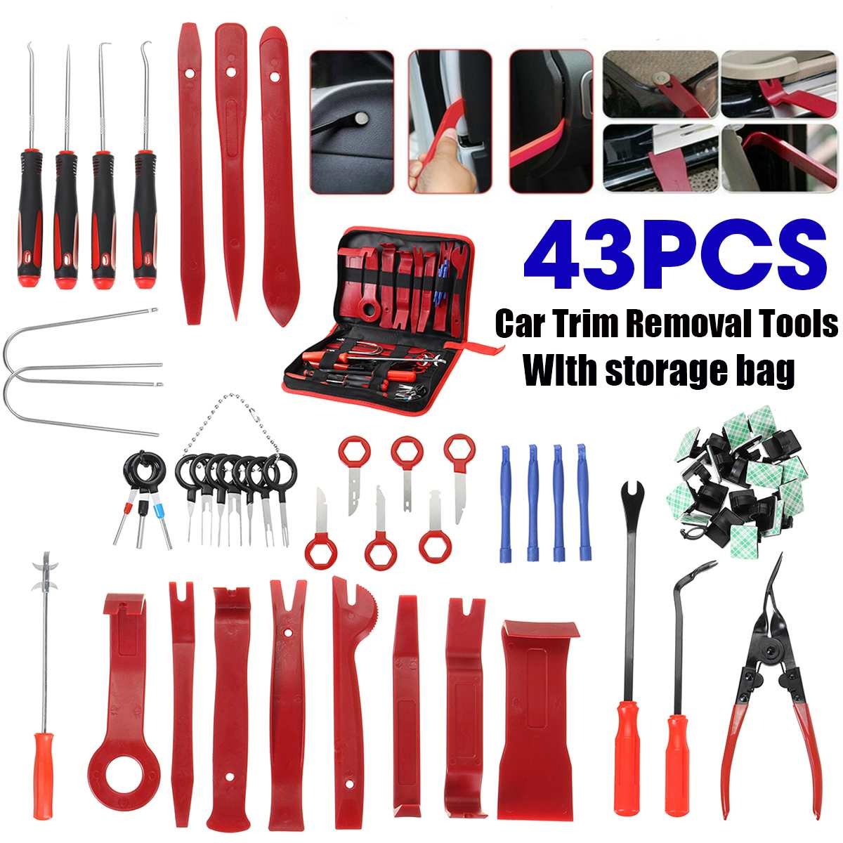 43pcs Car Door Molding Dash Panel Audio Seal Interior Trim Panel Dashboard Installation Removal Pry Tool Kit & Removal Hook Tool