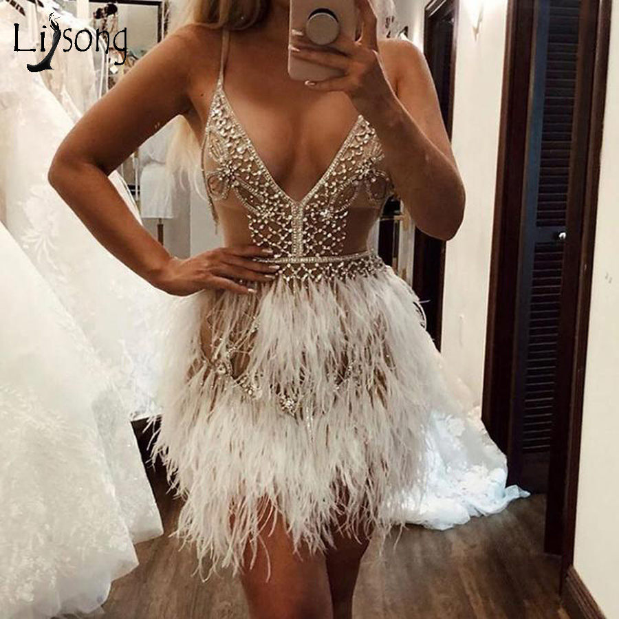 2020 Luxury Feather Crystal Short Formal   Dress   Sexy Mini   Cocktail     Dresses   Deep V-neck Custom Made Party   Dresses   Homecoming   Dress