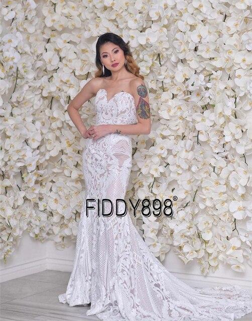 Sweeheart Mermaid Wedding Dresses Special Sequin Lace Bridal Gowns Sexy Trumpet Wedding Gown Vestido de Novia 6