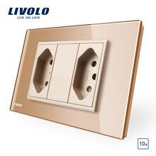 Livolo Brazilian/Italian Standard 2gangs 3 Pins 10A Socket,  Glass panel Without Plug,  C9C2CBR1-11/12