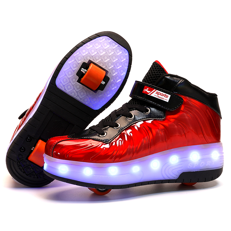Heelys 2020 Red New USB Charge LED Colorful Children Kids Fashion Sneakers With Two Wheels Roller Skate Shoes Boys Girls Shoes