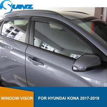 Side Window Deflectors For Hyundai Kona Encino Kauai 2017 2018 2019 2020 Black Visor Car Wind Shield Sun Rain Visors SUNZ