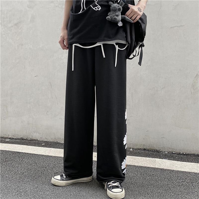 Aolamegs Pants Men Hip Hop Baggy Harajuku Pants Elastic Waist Print Male Streetwear Fashions Vintage Casual All-match Trousers