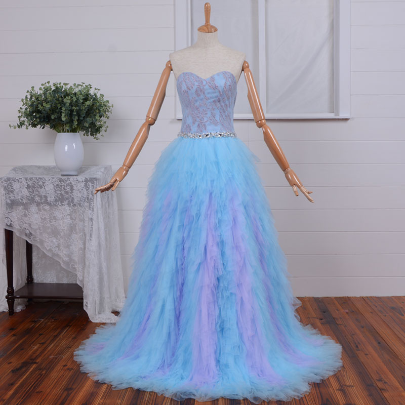 sexy sweetheart long prom ruffles 2018 appliques formal vestido de festa beading colorful evening mother of the bride dresses