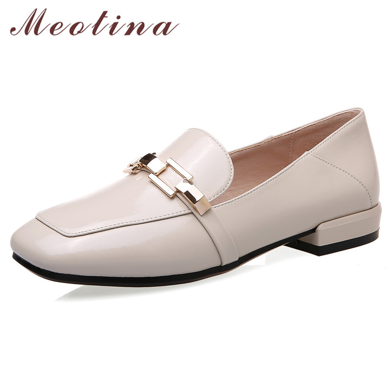 Meotina Spring Flats Women Shoes Patent Leather Flat Loafers Shoes High Quality Chain Square Toe Shoes Ladies New Red Size 33-40
