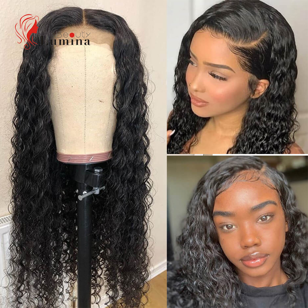 Brazilian 4X4 6x6 Lace Closure Wig Deep Wave Wig Curly Human Hair Wigs Lace Wig Pre-Plucked With Baby Hair Remy 180% Density