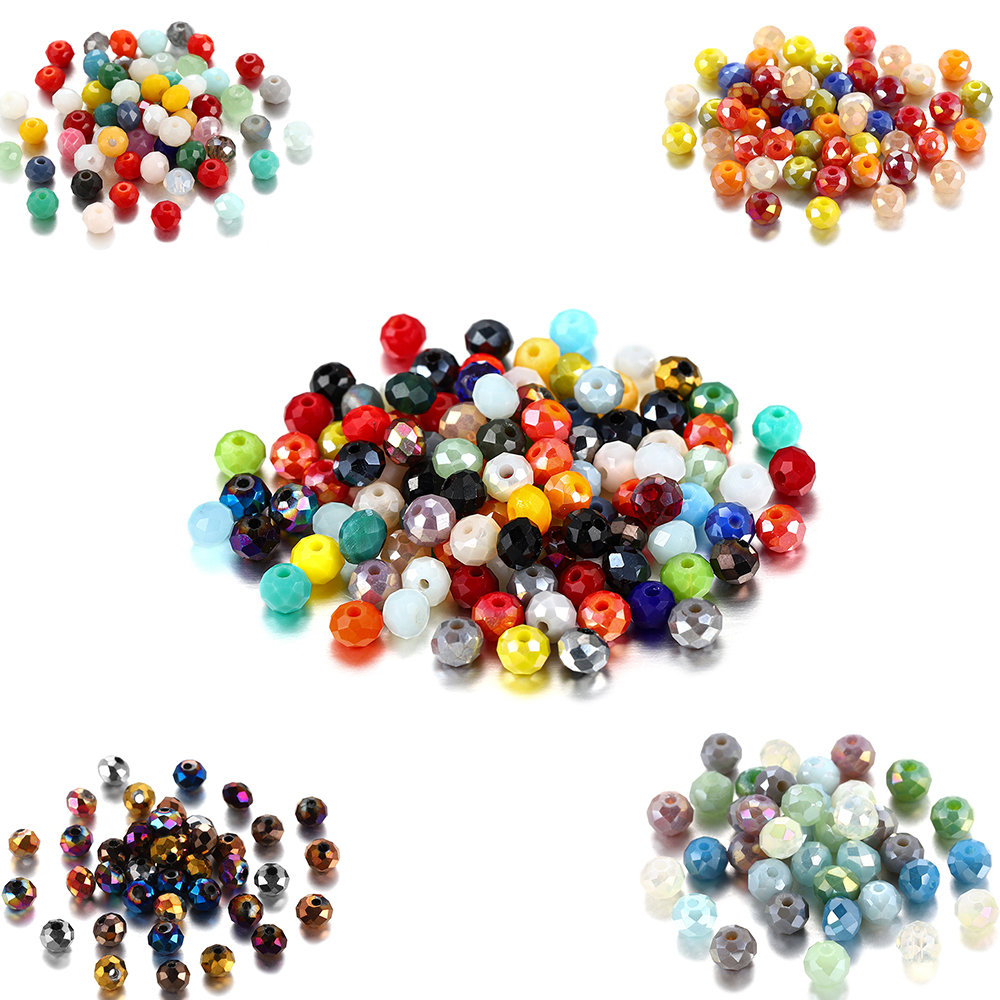 70-300pcs/lot 3 4 6 8mm Multicolor Austrian Bicone Crystal Beads Spacer Bead Faceted Glass Beads for Jewelry Making Diy Finding(China)