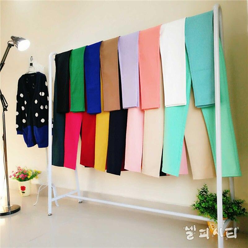 Casual Cotton Ankle-Length 92cm Pants Women Oversized Pants Mid Slim Waist Candy-colored Pencil Pants Joggers Women Joggers