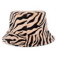Outdoor Foldable Cotton Winter Zebra Pattern Bucket Hat Women Fisherman's Cap Sun Protection Caps for Ladies