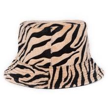Outdoor Foldable Cotton Winter Zebra Pattern Bucket Hat Women Fisherman's Cap Sun Protection Caps for Ladies stylish multicolor stripe pattern bucket hat for women
