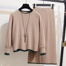YICIYA New Autumn Winter Women 2 Piece Set Pullovers Tops and Skirt Sweater Knitted Suits Long Sleeve Plus Size Outfits
