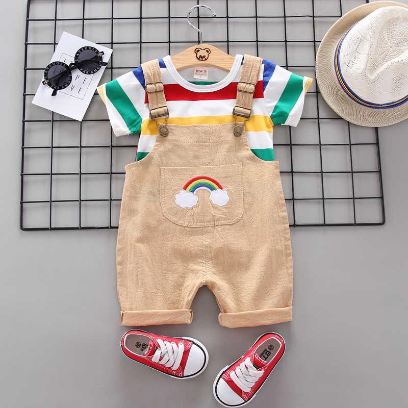 BibiCola letnie dzieci zestawy ubrań dla chłopców zestawy ubranek dla chłopca Bebe wzór topy + spodnie dżinsowe niemowlę chłopcy moda dres zestaw
