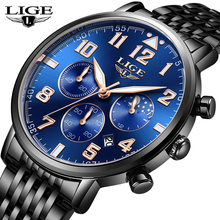 2019 New LIGE Fashion Mens Watch Top Brand Luxury Sport Stainless Steel Waterproof Quartz Watch Mens Casual Date Blue Clock+Box все цены