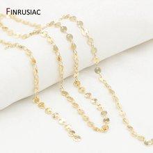 14k золотой медный диск цепь ручной работы diy ожерелье браслет