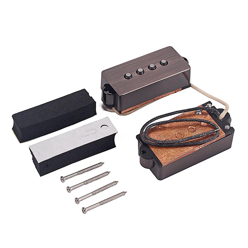 Open Alnico 5 Pb P Bass Pickup Humbucker Pickup Alnico V Black For 4 String P Bass Replacement