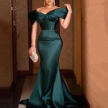 Элегантный Вечерний Вечеринка Платье Сексуальная С открытыми плечами С оборками Русалка Длинный Халат Femme Африканский Плюс Размер Плиссированные Свадьба Формальный Платье