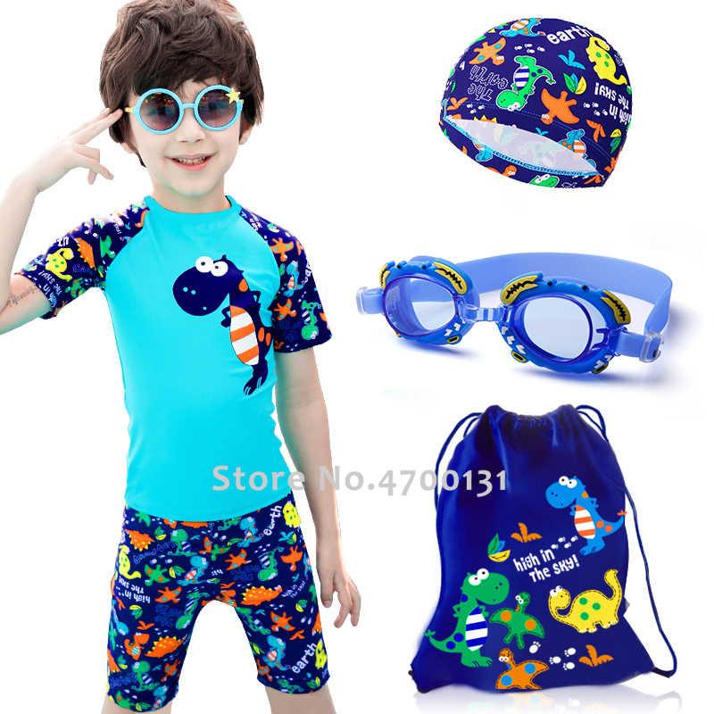 Dzieci pływanie strój kąpielowy strój kąpielowy Cartoon dinozaur strój kąpielowy dla dzieci dla dzieci chłopiec ochrona UV Surfing stroje kąpielowe dla dzieci lato plaża strój kąpielowy zestaw