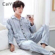 CAIYIER Autumn Winter Men Pajamas Set Turn-down Collar Long Sleeve Trousers Sleepwear Leisure Pyjama Night Pijamas Home Wear 3XL