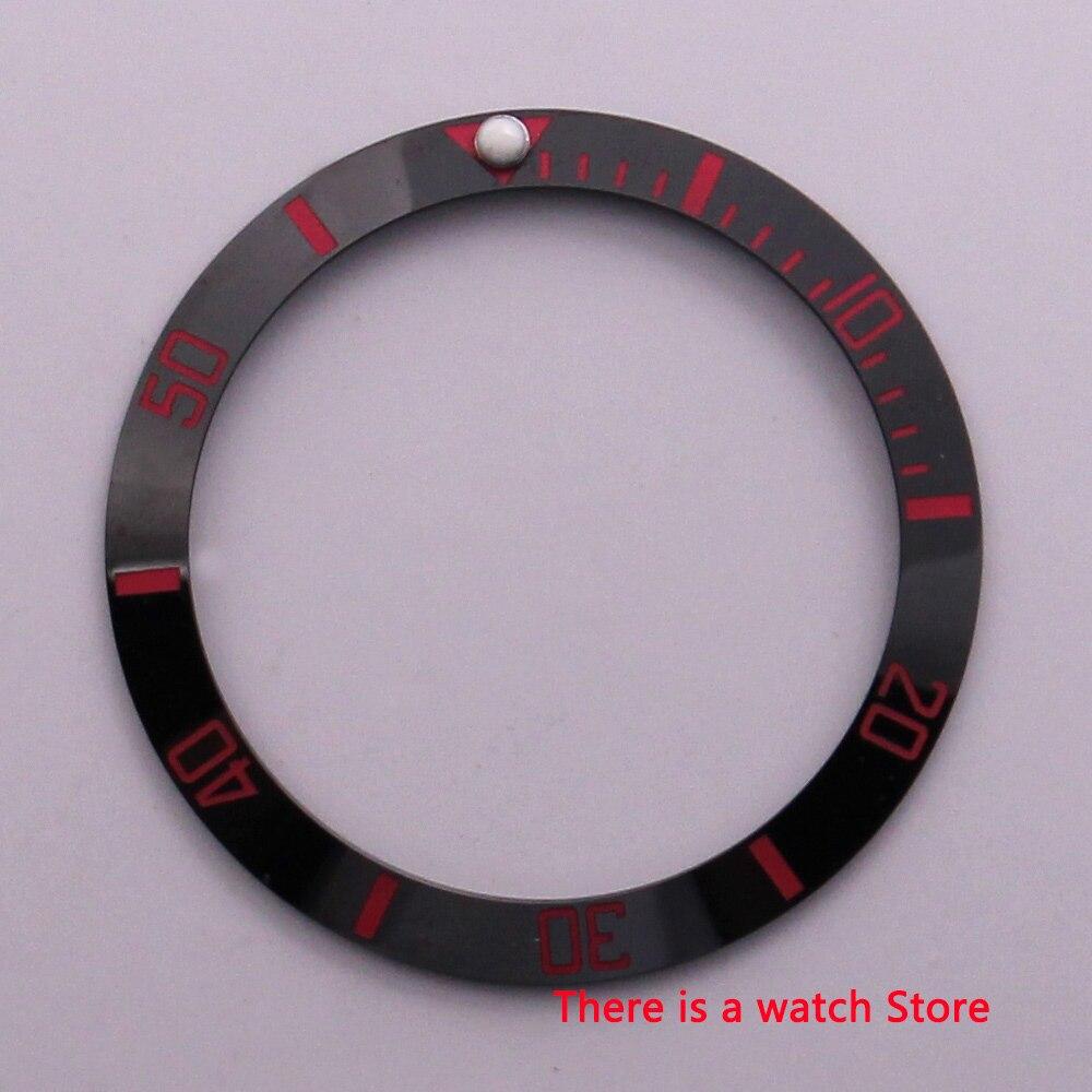 38mm 세라믹 베젤 인서트 블랙 레드 마크 빛나는 도트 맞는 40mm 시계 케이스 서브 자동식 남성용 시계