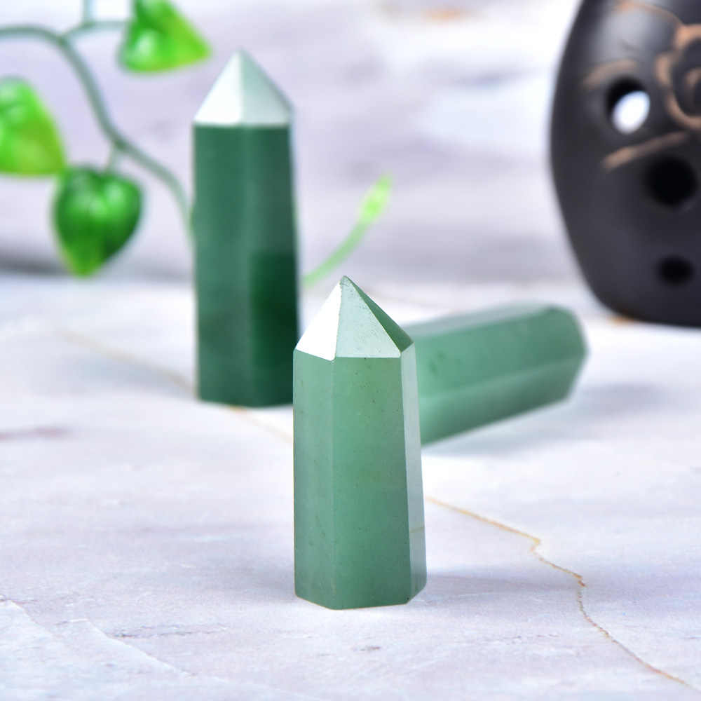 Color : Light Green, Size : 61 70mm Natural Crystal Aventurine Quartz Point Stone Hexagonal Prisms 50-80mm Obelisk Wand Stone DIY Gift 1PC