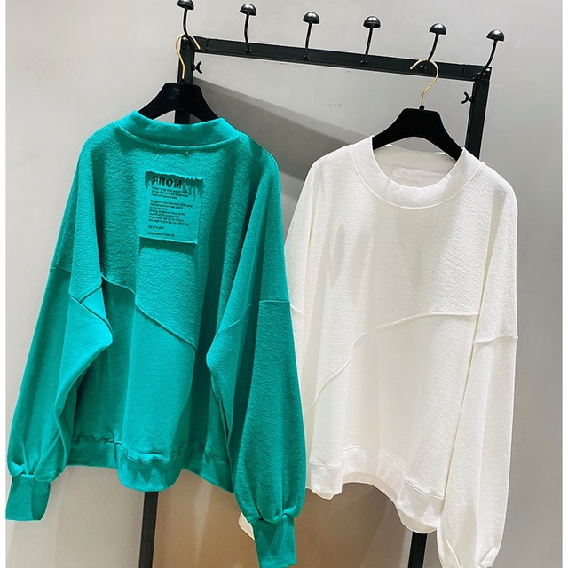 2021 New Spring Autumn Loose Korean Style Loose Women Top Cotton Ins Hoodie Round Neck Simple Pullover Sweatshirt 3