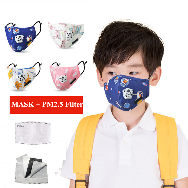 Kids Children Cotton Anti-Dust Face Mouth Mask Cartoon PM2.5 Protective Respirator Reusable Anti Flu Masks With 1pcs Filter
