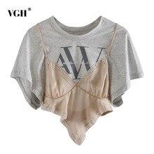VGH-Camiseta de almazuela elegante para mujer, ropa asimétrica de manga corta con cuello redondo y estampado de colores con encaje, dobladillo Irregular, tendencia femenina