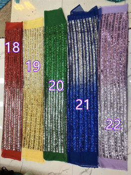 22 colors option 3H-42606 fashionable sequins tulle embroidery french net lace fabric for party dress
