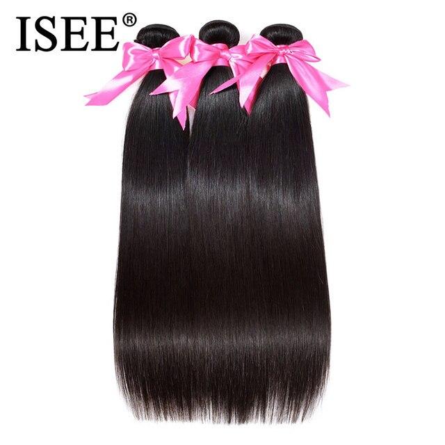Isee Haar Braziliaanse Straight Hair Extensions Remy Hair Weave Bundels Natuur Kleur 3 Bundels Dikke Straight Menselijk Haar Bundels