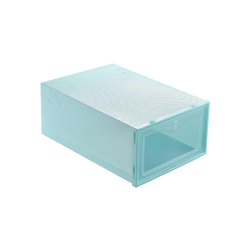 1 قطعة غطاء الوجه المفتوح دائم البلاستيك شماعات الأحذية تخزين صندوق شفاف مقسم درج منظم الأحذية المحمولة