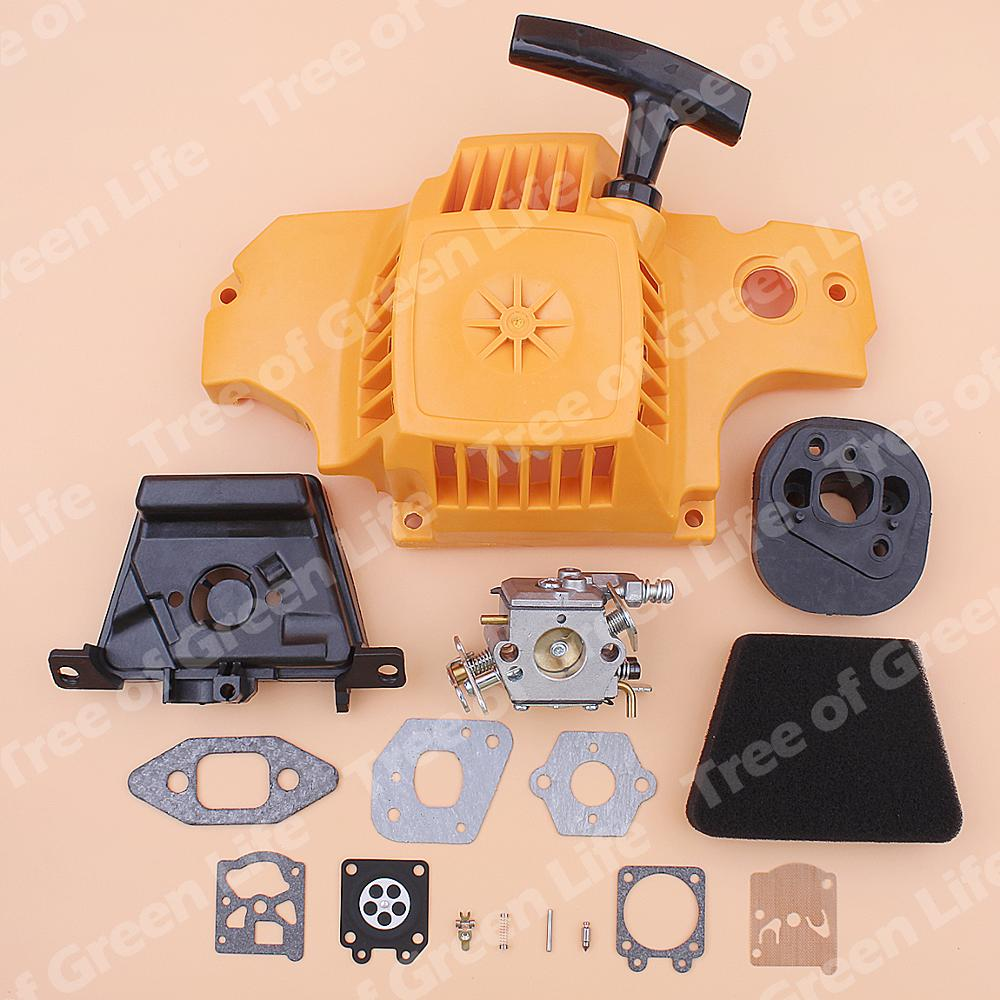 Tools : Recoil Rewind Pull Starter Carburetor For Partner 350 351 Air Filter Cleaner Element Cover Gasket Adaptor Repair Kit Chainsaw