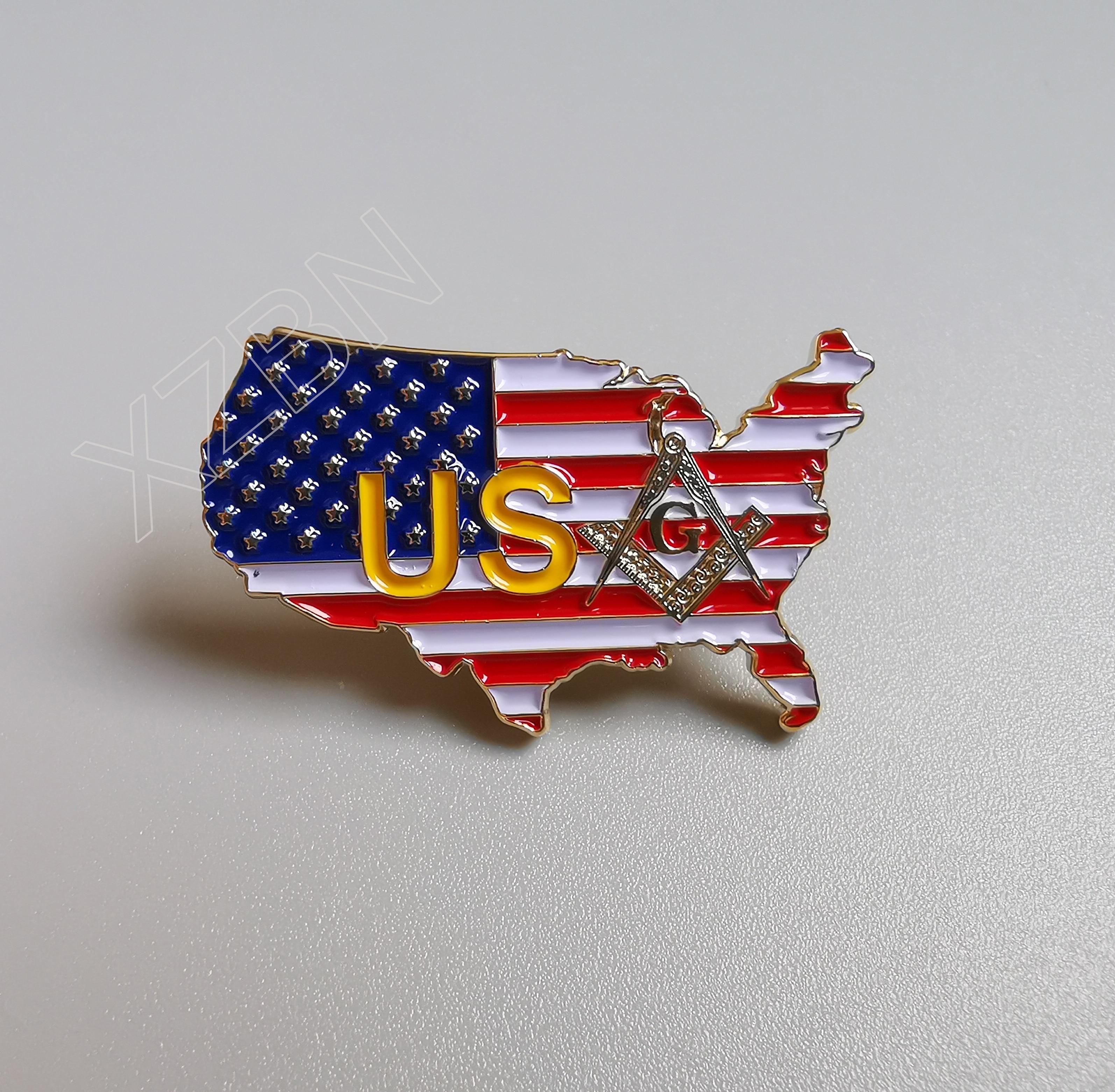 MASONIC AMERICAN FLAG ENAMEL LAPEL PIN FREEMASON SQUARE COMPASS MASON US TIE new