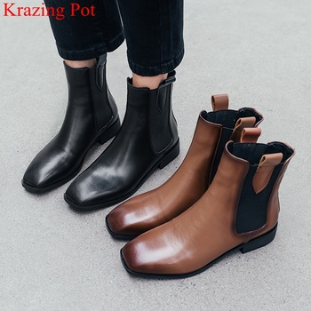 2020 new cow leather slip on square toe med heels ankle boots dress neutral classics runway casual brand women winter shoes L43