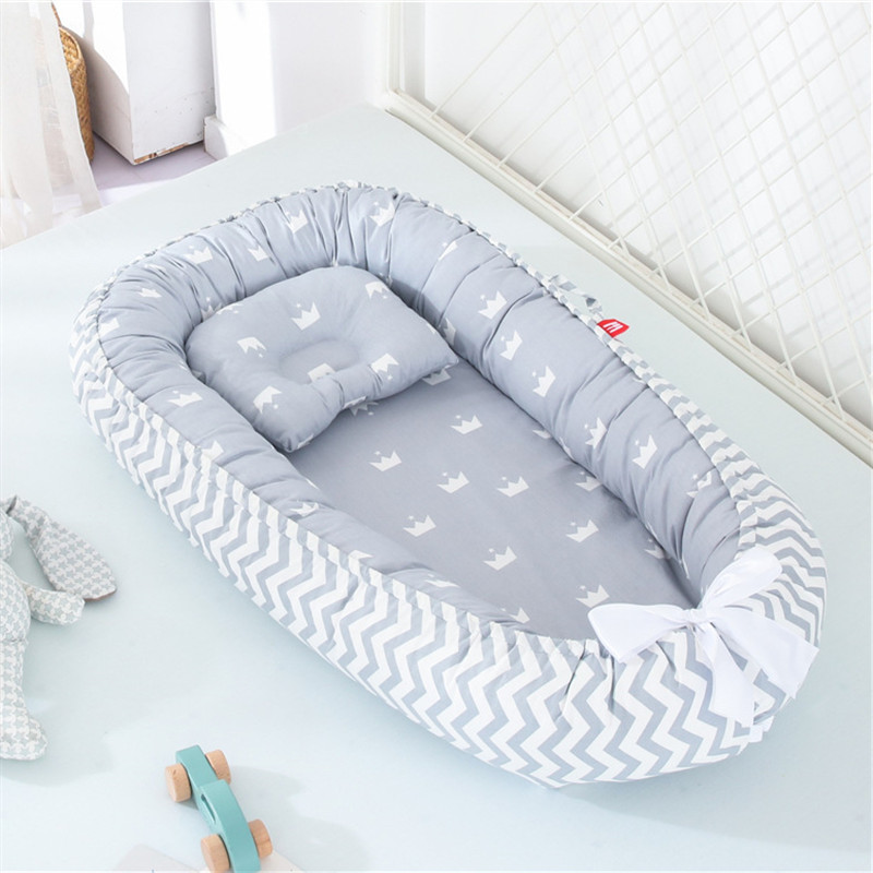 Travel Bed Portable Baby Nest With Pillow Cushion Newborn Bed For Boys Girls Infant Outdoor Cotton Crib Bumper