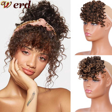 Hair-Extension-Piece Hair-Bangs Curly WERD Brown Black Natural Synthetic