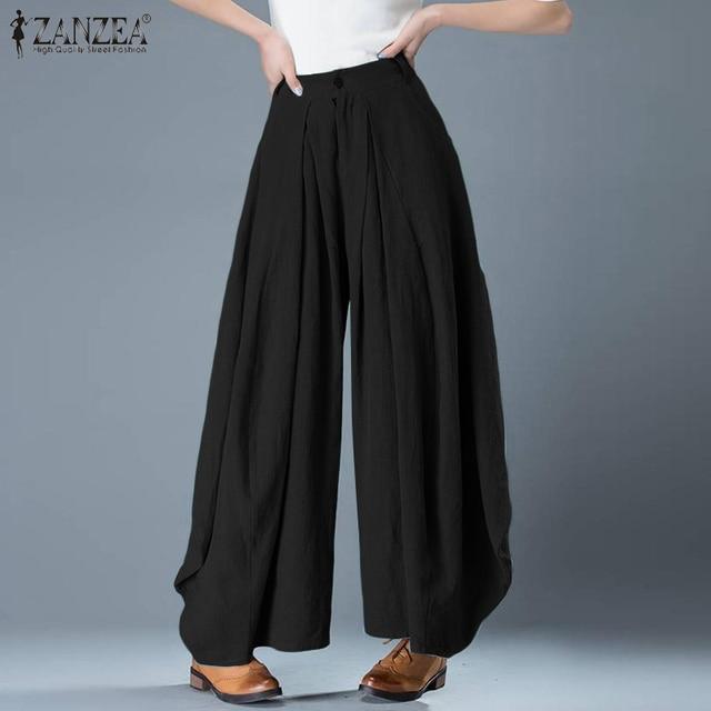 Plus Size Elegant Solid Wide Leg Pants 5
