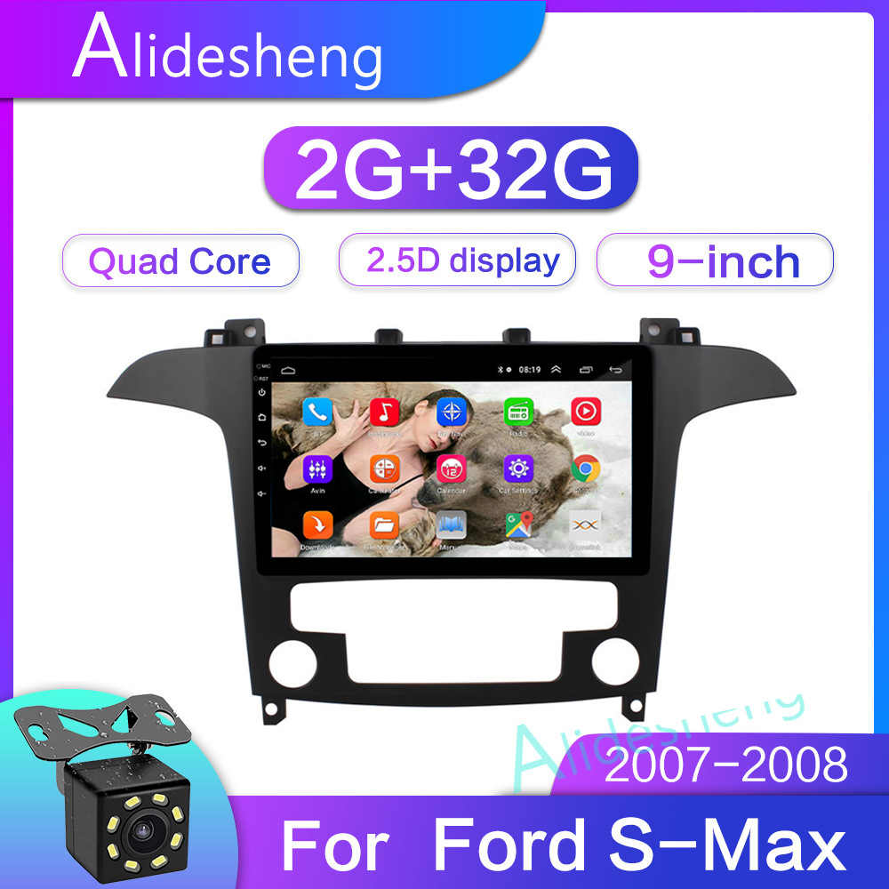 2G Ram 32G ROM 2.5D 2Din Android 8.1 Mobil Dvd Multimedia Player GPS untuk S-MAX S MAX 2007 2008 Navigatio Wifi Bt