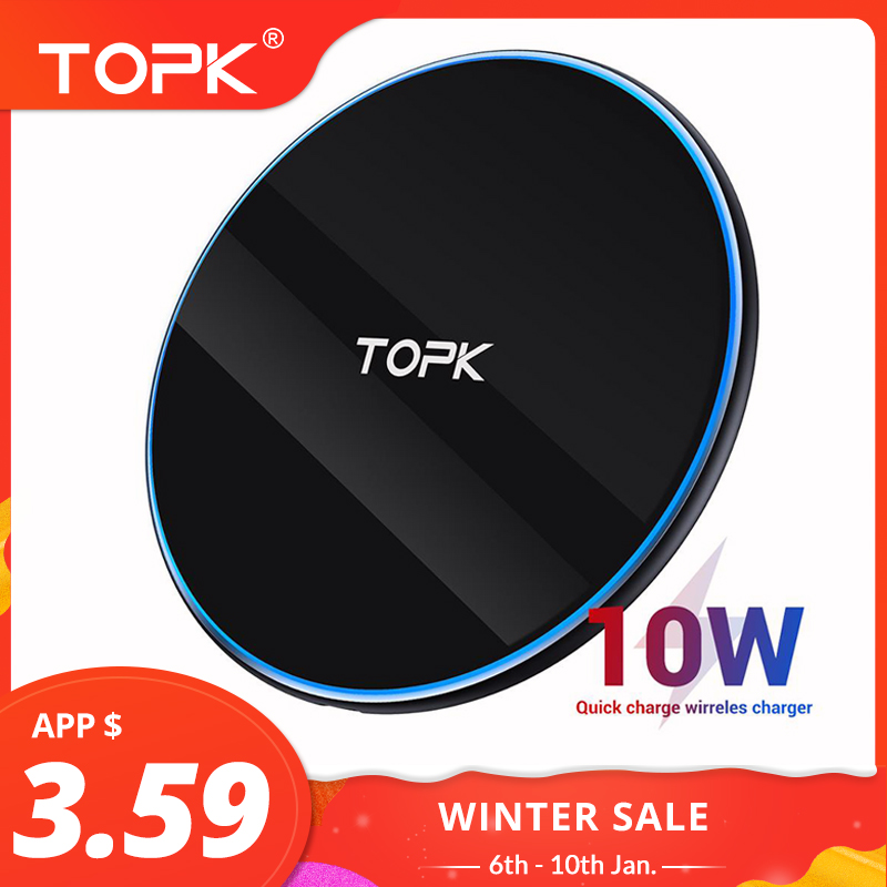 TOPK B02W 10W Wireless Charger LED Portable Universal Fast Wireless Phone Charger For  Samsung S10 S9 S8 Xiaomi Mi9