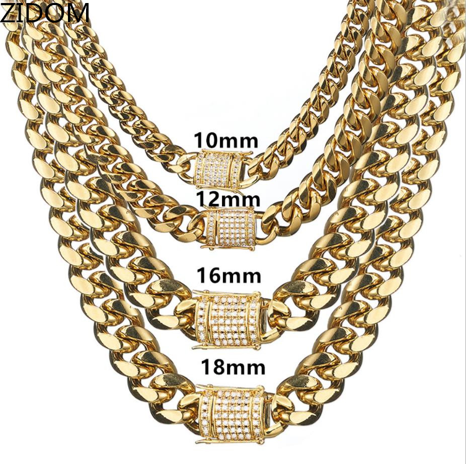 Men Hip hop chain necklace Stainless Steel with Zircon never fade High quality Miami Cuban Chains necklace Male Hiphop jewelry|Chain Necklaces|   - AliExpress