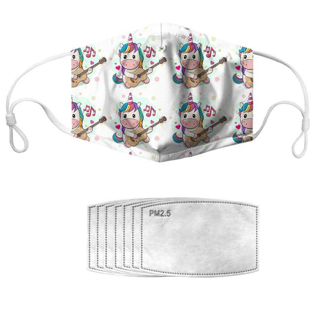 NOISYDESIGNS 1pc With 7pcs Filters Mouth Masks Adjustable Kpop Face Cover Masker Cool Horses Pattern Mascherine 2